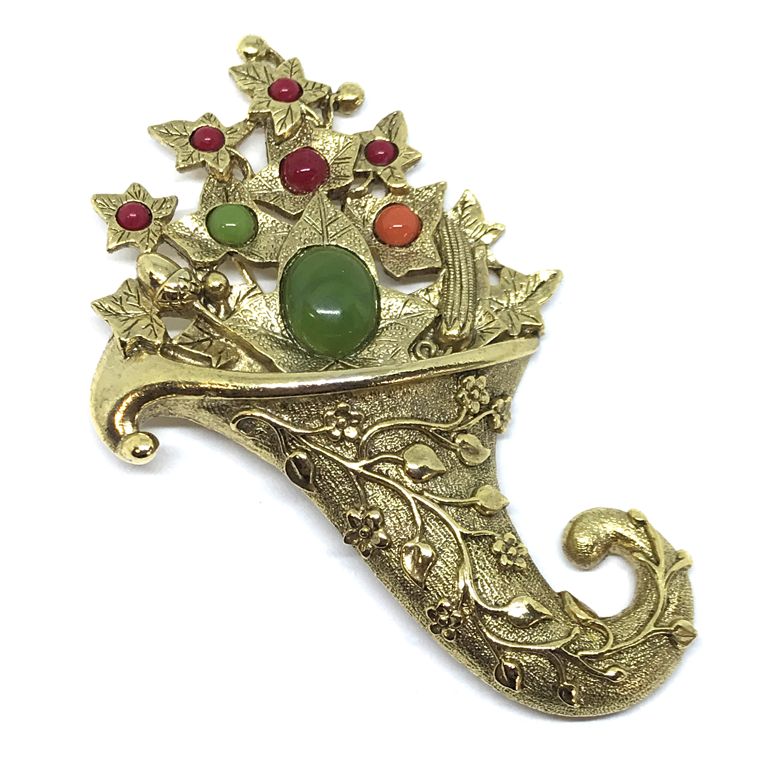 Cornucopia Brooch, Gold, 1928 Jewelry Co., 01440, green, red, and orange cabochon accents, gold finish, autumn colors, fall colors, vintage jewelry, collectable jewelry, Collectors item, collector's piece