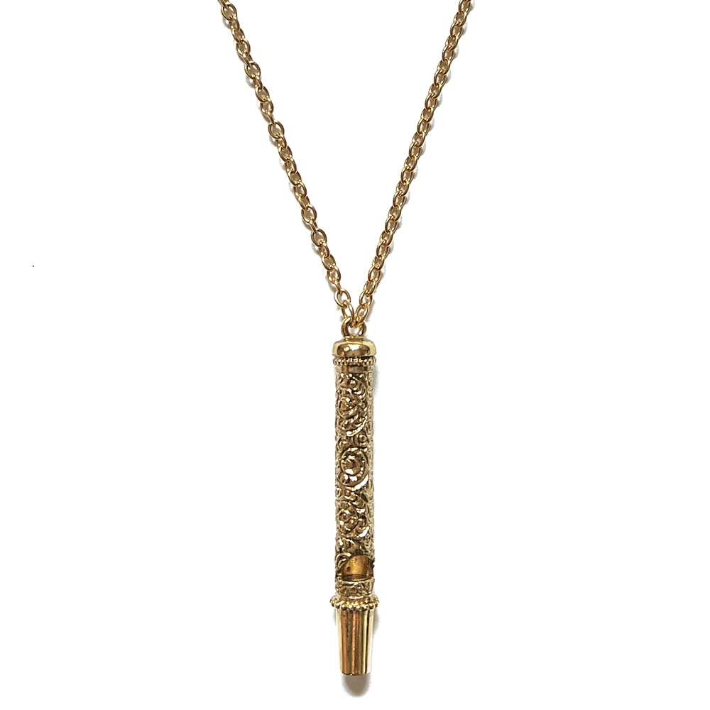 1928 Jewelry Company, whistle necklace, 14K gold dipped, filigree, US made, made in the USA, pewter, 1928 pieces, B'sue by 1928, floral whistle, B'sue Boutiques, 1928/01445