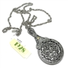 1928 Jewelry Company, sliding mirror pendant, 01448, filigree pendant, silver plated pewter, 1928 Jewelry pendant, 1928 Jewelry, mirror jewelry, B'sue Boutiques, rare, jewelry supplies