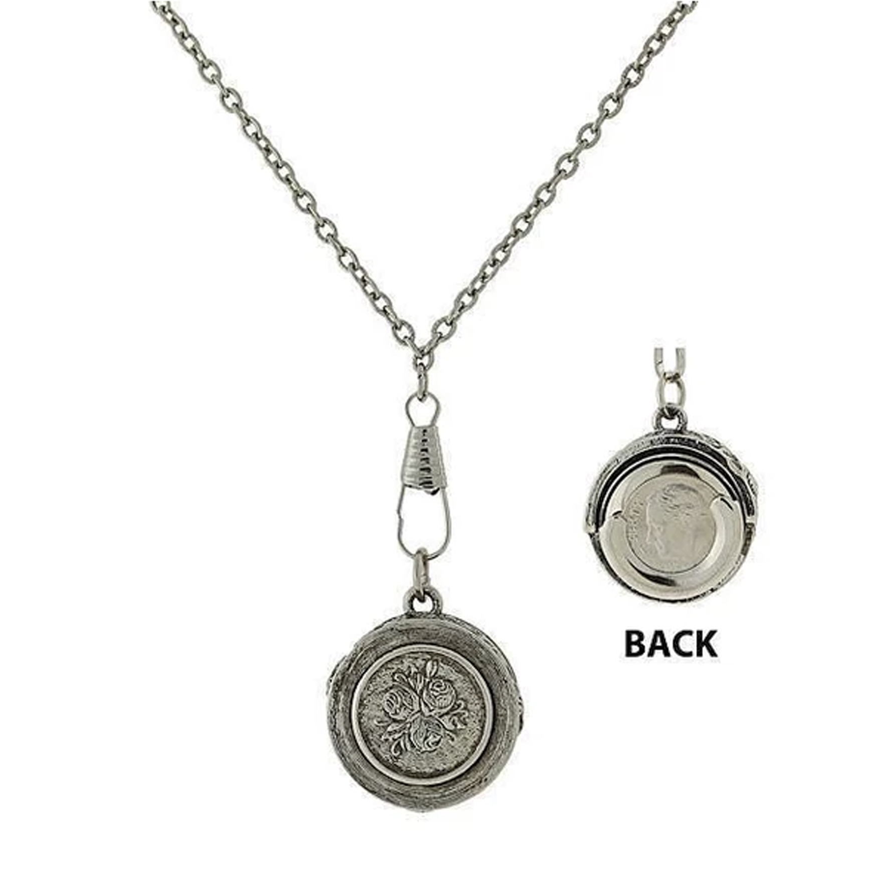 1928 Jewelry Company, pendant dime holder necklace, jewelry necklace, necklace, dime holder, silver-tone, US-made, pewter, reprise, 1928 pieces, B'sue by 1928, B'sue Boutiques, 30-inch necklace, pendant holder necklace, pendant necklace, 1928-01464