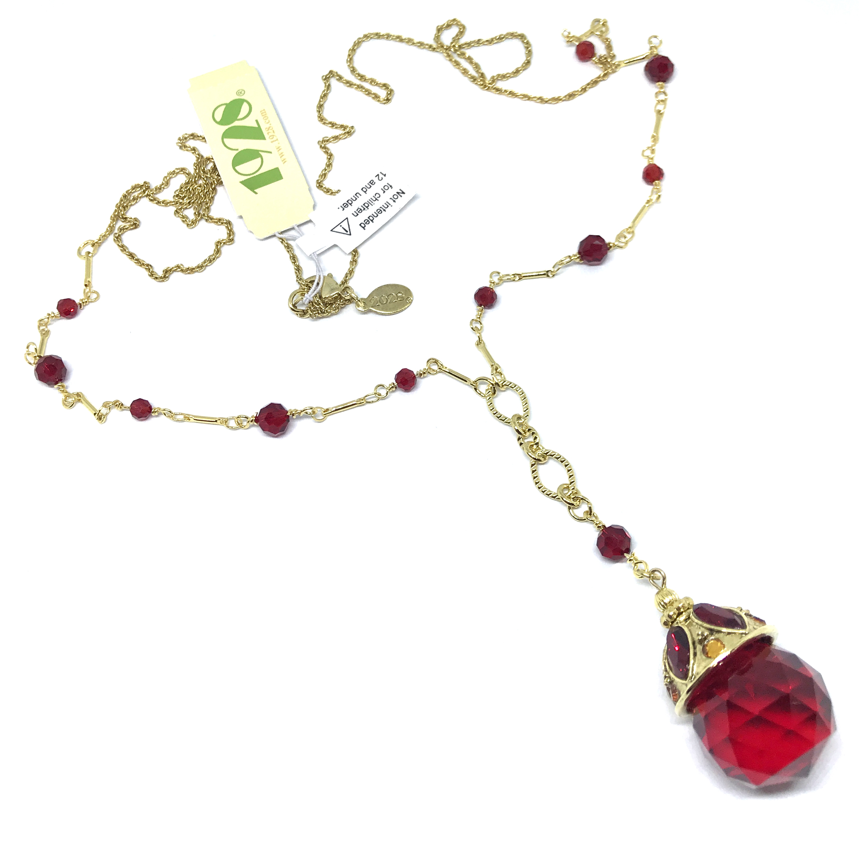 1928 Jewelry Company, red drop necklace, 14K gold dipped, Y-style, crystal, US-made, 1928 pieces, B'sue by 1928, B'sue Boutiques, 34 Inch necklace, 1928 necklace, 1928-01474