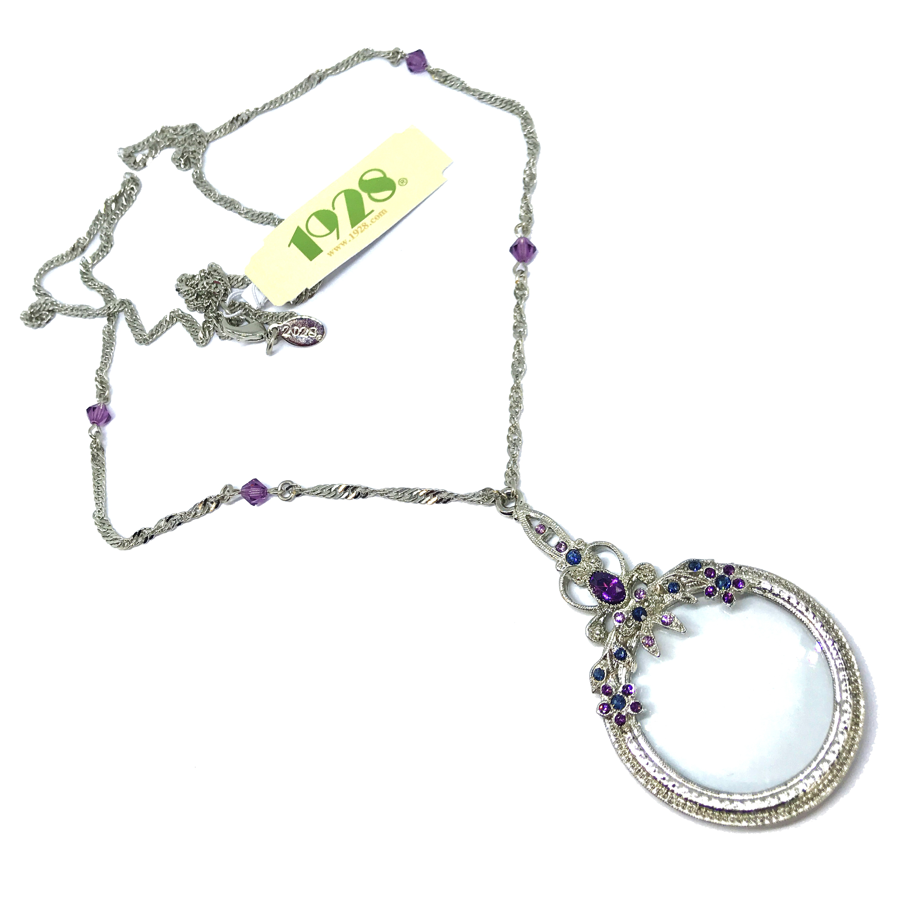 1928 Jewelry Company, magnifier, magnifying necklace, hand antiqued pewter, silver-tone, US made, made in the USA, pewter, reprise, 1928 pieces, B'sue by 1928, imitation amethyst, Montana blue, B'sue Boutiques, 2.75 inch magnifying glass, 1928/01482