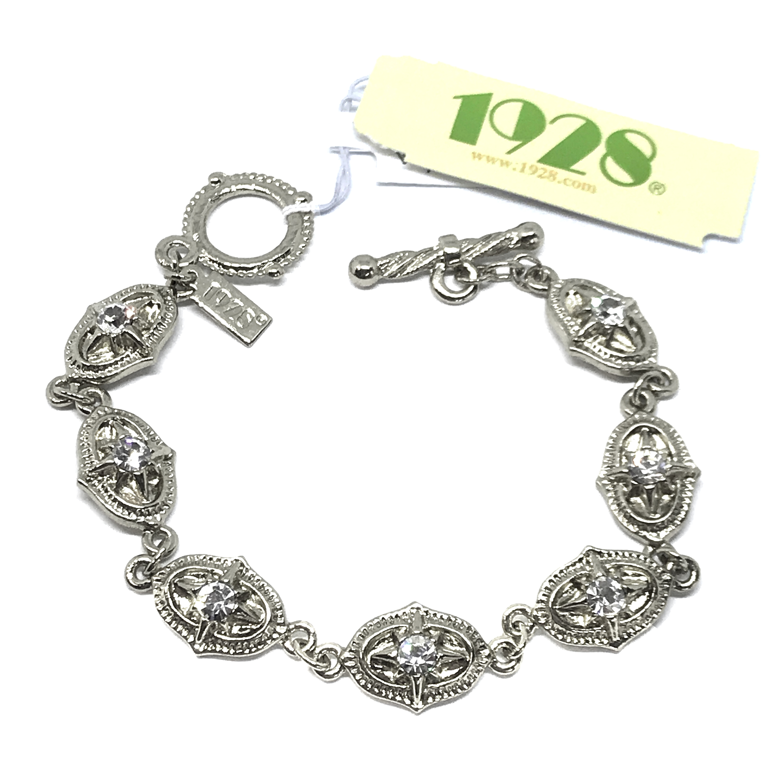 1928 Jewelry Company, clear crystal bracelet, bracelet, silver-tone, clear crystals, US-made, 1928 pieces, B'sue Boutiques, 7 1/4 inches, toggle closure, 1928-01488, silver bracelet, 1928 bracelet