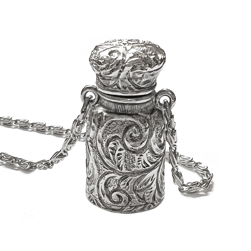 1928 Jewelry Company, pill bottle necklace, antique silver, silver plated, pill bottle, bottle, vintage collection, scroll chain, bottle necklace, 30 inches, silver, pendant, necklace, us made, 1928 necklace, B'sue by 1928, B'sue Boutiques, 1928/02191