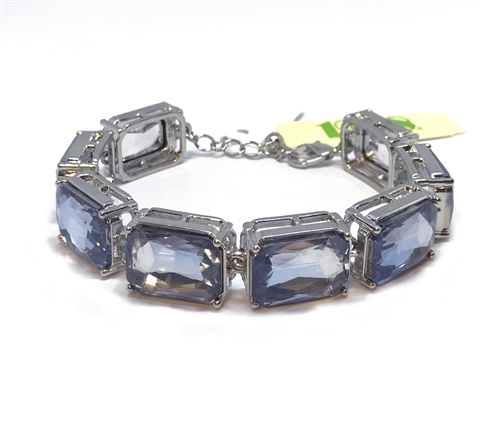 1928 Jewelry Company, sapphire glitz bracelet, US made, made in the USA, pewter, 1928 pieces, B'sue by 1928,  B'sue Boutiques, 1928/04827, antique silver, cushion cut stones
