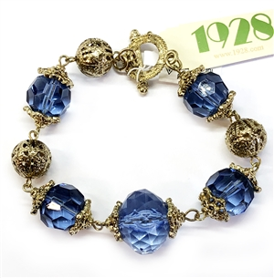 1928 Jewelry Company, sapphire bead bracelet, US made, made in the USA, pewter, 1928 pieces, B'sue by 1928,  B'sue Boutiques, 1928/04833, antique gold, filigree ball beads, toggle bracelet