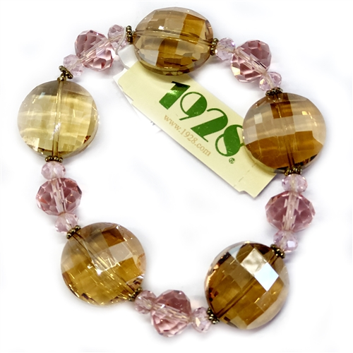 1928 Jewelry Company, stretch bracelet, US made, made in the USA, peachy topaz beads, faceted pink beads, 1928 pieces, B'sue by 1928,  B'sue Boutiques, 1928/04834, glass beads