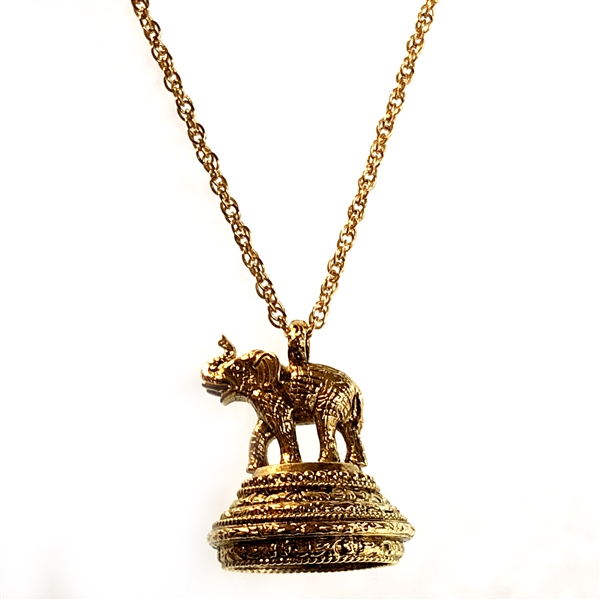 1928 jewelry companyelephant necklace antique gold silver plated 1928 jewelry companyelephant necklace antique gold silver platedelephant locket vintage collection rope chain aloadofball Images