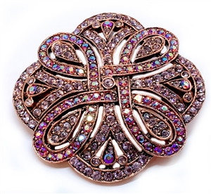 1928 Jewelry Company, Rose gold tone Brooch, Pink Brooch, Lilac Brooch, Aurora Borealis, Brooch, Rare, 1928, Jewelry, B'sue by 1928, finished jewelry,
