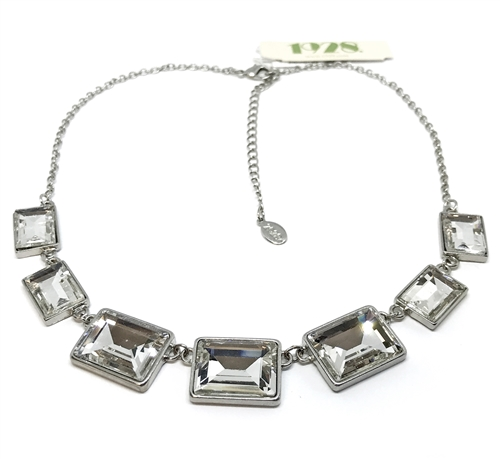 designer crystal glitz necklace, 1928 Jewelry Company, necklace, silver finish, US made, cushion cut stones, imitation crystal, cut stones, 2028 tag, vintage supplies, B'sue Boutiques, 16 inches long, silver foil stones, silver necklace, 04905