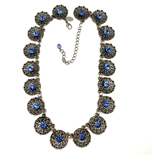 1928 Jewelry Company, rosette necklace necklace, antique silver, imitation sapphire chatons, vintage collection, rhinestone rosette chain,  15 inches, choker necklace, US made, B'sue by 1928, B'sue Boutiques, 1928/04952