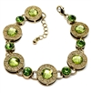 1928 Jewelry Company, imitation peridot stud bracelet, gold plate, gold stud bracelet, US made, made in the USA, pewter, reprise, 1928 pieces, B'sue by 1928,  B'sue Boutiques, 1928/05062