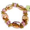 1928 Jewelry Company, stretch bracelet, US made, made in the USA, peachy topaz beads, faceted pink beads, 1928 pieces, B'sue by 1928,  B'sue Boutiques, 1928/05063, glass beads