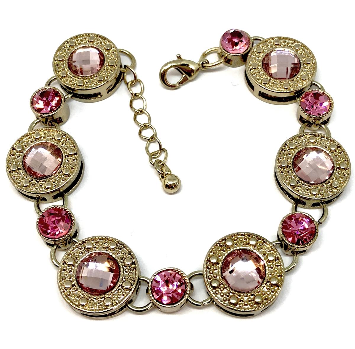 1928 Jewelry Company Imitation Rose Stud Bracelet Gold Plate Us Made