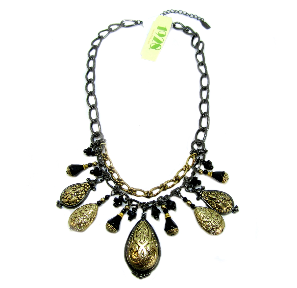 0864f8bd15f00 Multi-Color Boho Necklace, Gold Plated, Gunmetal, Custom Designed, 1928  Jewelry Company, 18 Inches Long