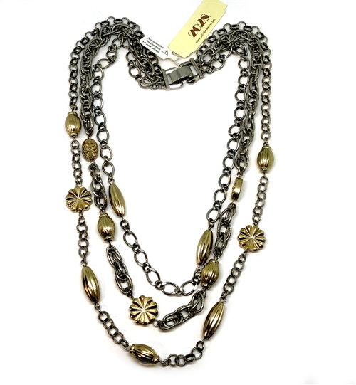 mixed metal necklace, graduating style necklace, antique silver, gold plate, metal beads, nickel free, rope chain, cable chain, 1928 bracelet, gold bracelet, US made, 1928 Jewelry Company, B'sue Boutiques, vintage supplies, silver and gold, 05259