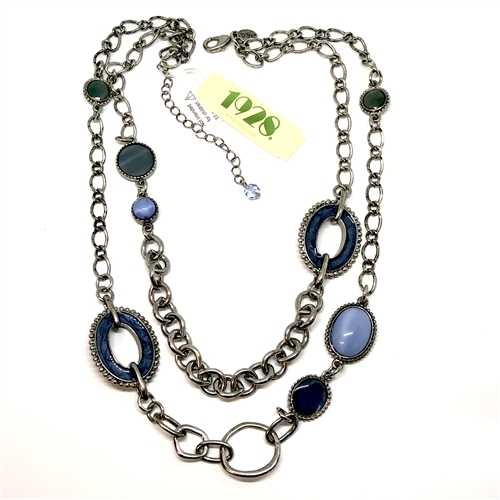 blue enamel and cabochon necklace, 1928 jewelry company, double row necklace, necklace, silver, antique silver finish, vintage collection, cable chain, stones, 16 inches, oval link necklace, US made, B'sue Boutiques, 05261