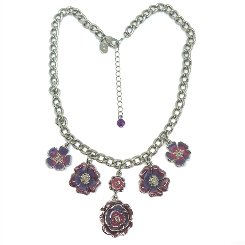 2028 Necklace, floral necklace, 07615, silver plated, pink and purple, designer piece, Bsue Boutiques, jewelry supplies, vintage jewelry, by 1928