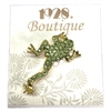 frog brooch, green swarovski crystals, peridot green, gold finish with green stones, rhinestones, brooch with green stones, vintage jewelry, collectable jewelry, collector's piece, 1928 Jewelry, B'sue Boutiques, frog, brooch, 08403, animals