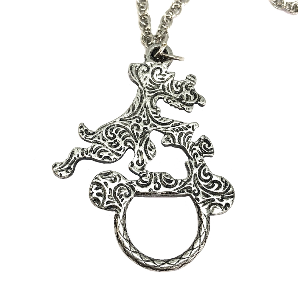 dog pendant, antique silver, puppy necklace, eyeglass holder, necklace, silver dog, silver, silver jewelry, pet jewelry, B'sue Boutiques, 1928 Jewelry Company, 28 inches, eyeglasses, eyeglass accessory, 08405