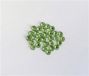 4mm preciosa peridot flatback,peridot, green, rhinestone, stone, preciosa, czech, flatback, flatback rhinestone, 4mm, 30 pieces, silver folded back, sparkle, jewelry making, jewelry findings,B'sue Boutiques, vintage supplies, jewelry supplies, 08066