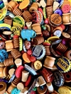 bsueprojectmix, vintage beads, OOAK, BD01907, wooden beads, spool beads, vintage 50's beads, German beads, polka dot beads, coco beads, colorful beads, vintage soda caps, cheerio beads, patina beads, cork, tassels, earrings, mixed media,found items,kitsch