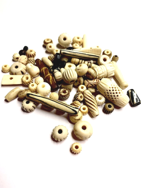 BD02252, antiqued bone beads, Boho jewelry, tea dyed bone beads, bovine, cow bone, Boho, organic, earthy, mixed styles bone beads, B'sue Boutiques, 8mm, 22mm, mixed package of bone beads, hand-carved, hand-carved bone beads, hippie beads