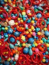 BD02265, A Day at the Circus, Bead Mix, Vintage, vintage beads, colorful beads, starfish beads, turtle beads, bead candy, red hoops, lucite beads, German glass beads, 50's deco style beads, acrylic bead mix, B'sue Boutiques, limited edition bead mix