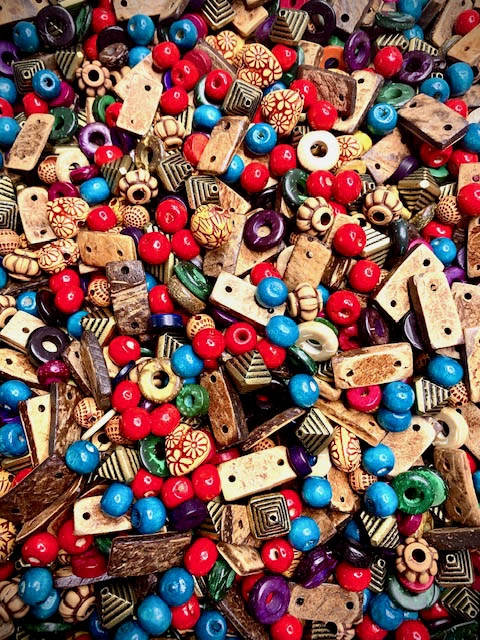 BD02268, Hippie Chick Boho Bead Mix, 60s style, hippie jewelry, wood beads, ethnic beads, coconut wood beads, turquoise blue wood beads, cherry red, connectors, howlite beads, dyed howlite, ring beads, wood beads, B'sue Boutiques, Boho beading, Boho style