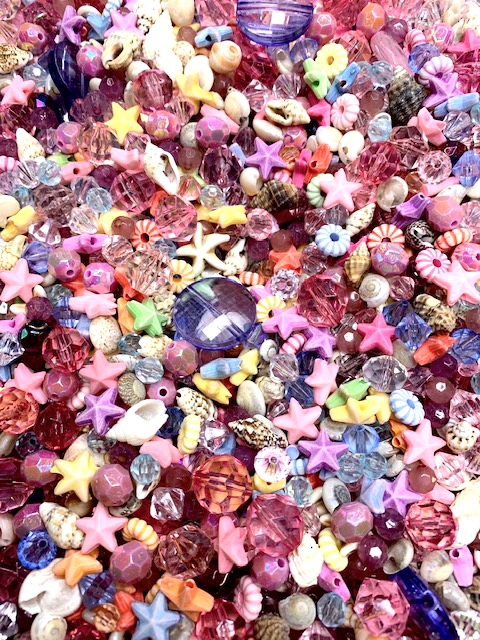 BD02270, Beach Party, Bead Mix, Boho Jewelry, boho style jewelry making, boho bead mix, pastel colors, designer acrylic, limited edition, B'sue Boutiques, pink beads, blue beads, sea shell beads, organic bead mix, faceted beads, one of a kind