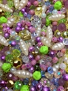 BD02272, Glow, Vintage Designer Bead Mix, cocoon pearls, soft cream, cream MOD pearls, Japanese pearls, vintage plastic, acrylic beads, pastel beads, peridot beads, lavender beads, spectra beads, crystal beads, vintage beads, B'sue Boutiques, glass