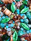 BD02273, Funky Town Green, Project Mix, Beads, green beads, wooden spools, macrame beads, metal beads, copper beads, gold beads, bicone beads, stepped beads, deco beads, vintage beads, one of a kind bead mix, composition acrylic, mixed chunky beads, B'sue