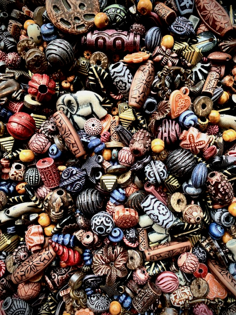 BD02275, Safari Bead Mix, Designer Beads, brown beads, ethnic design beads, African beads, black leaf beads, engraved beads, elephant charms, hand charms, black beads, B'sue Boutiques, wooden beads, pyramid beads, flower beads, flower charms