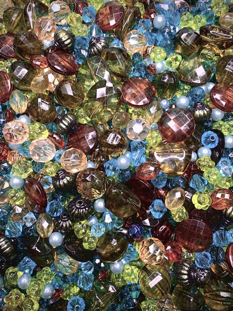 BD02297, August Rush, Designer Bead Mix, late summer colors, olivene, root beer, lemon, pale blue, no hole pearls, peridot, deep teal and vibrant teal, mixed shapes and sizes, assorted colors, designer acrylic,limited edition, B'sue Boutiques