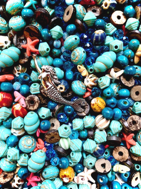 BD2276,Out of the Blue Bead Mix, Turquoise, starfish, acrylic beads, mermaid, silver mermaid, aqua, fire polished beads, designer beads, limited edition, B'sue Boutiques, pyramid beads, engraved beads,glass beads,coco wood beads, ceramic beads,melon beads