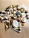 BDBEADORG, NATURAL SHELL, BONE, cow bone beads, carved bone, sea shells, drilled shells, Boho beads, organic bead mix, India bone beads, trumpet shells, sliced conch shells, pearls, brass beads, organic style, Boho jewelry, beach jewelry, B'sue Boutiques