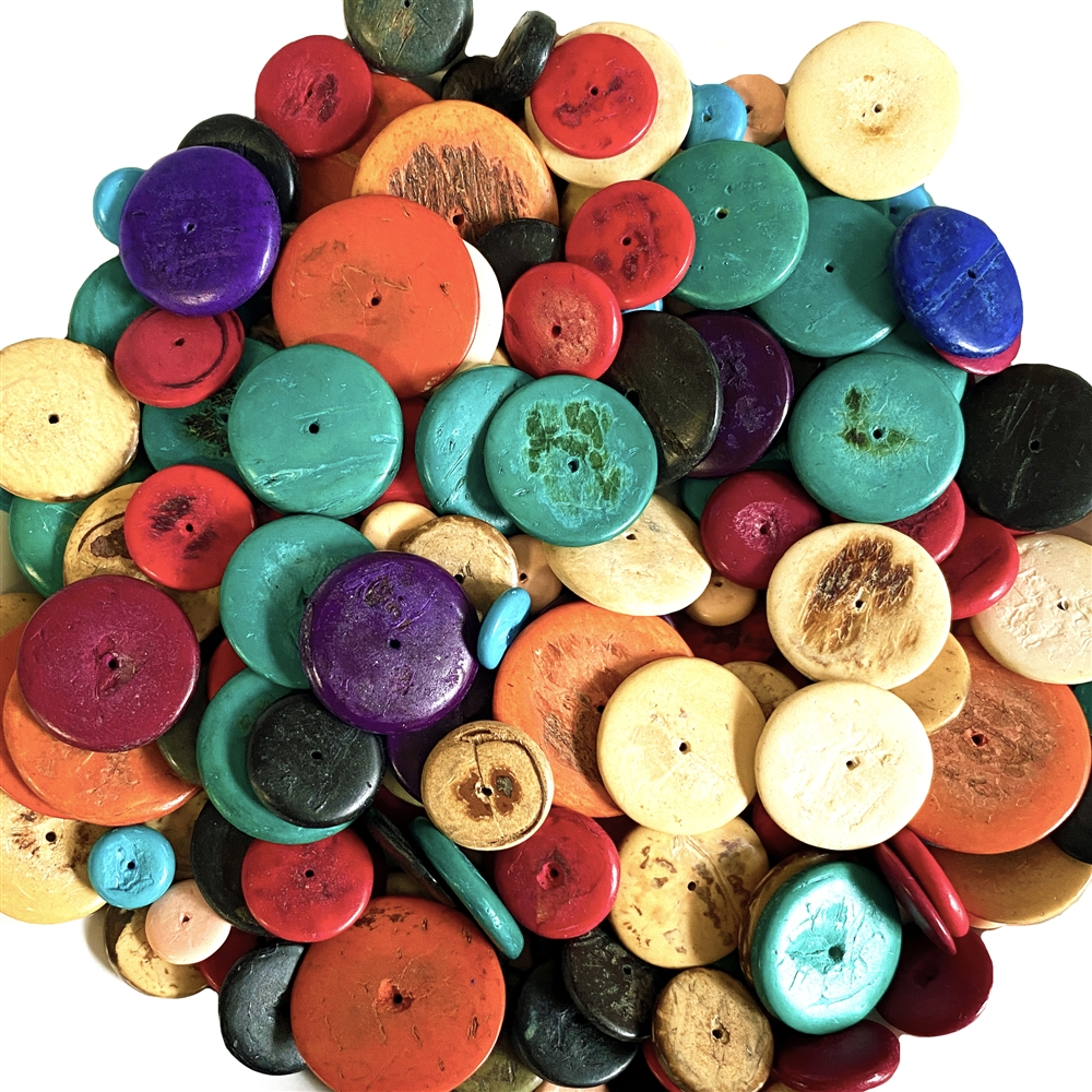 Coco Wood Beads, Discs, Colorful, BDCOCO, 6mm, 22mm, purple, turquoise, red, orange, wooden, wood beads, beads for wiring, designer mix, project mix, mixed beads, hippie beads,B'sue Boutiques, mixed colors beads, bead bag, inexpensive beads, vintage beads
