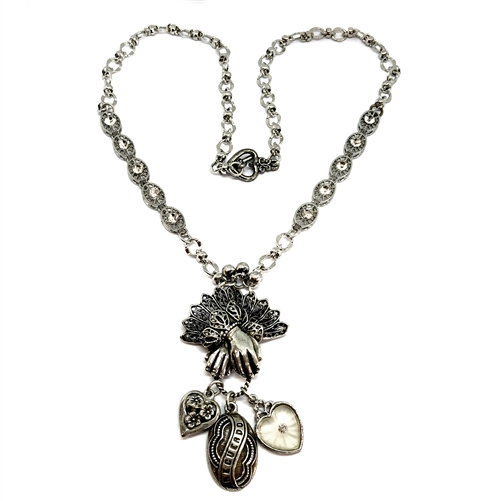 Lace Cuffed Hand and Charm Necklace, old silver, vintage jewelry, 1928 Jewelry Parts, Spanish Recuerdo memory, heart charms, imitation rhinestones, bead and link chain, silverware silver plate chain, 05280