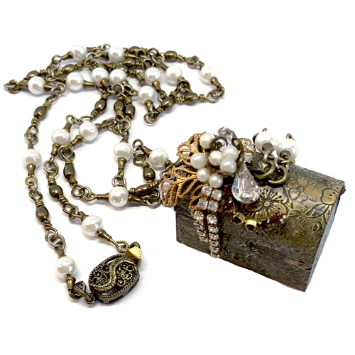 Bsue Necklace, Treasure Box, Patina, 07240, bsue jewelry, vintage jewelry, nickel free jewelry, US made parts, bead and link chain, pearl chain, filigree box clasp, floral treasure chest, patina treasure chest, memory box, vintage treasure chest