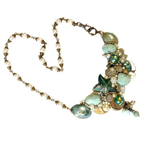 Bsue Necklace, By the Sea, Sea Shells, Aqua, 07241, nickle free jewelry parts, bsue boutiques, sea shell necklace, aqua patina color, flat back stones, star fish, pearl chain, swivel lobster clasp, B'sue Jewelry, rhinestone chain