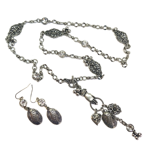 Lace Cuffed Hand and Charm Necklace, old silver, 1928 Jewelry Parts, Spanish Recuerdo memory, heart charm, rhinestones, bead and link chain, silverware silver plate chain, 07279, filigree, filigree stations, charm necklace, necklace and earrings set