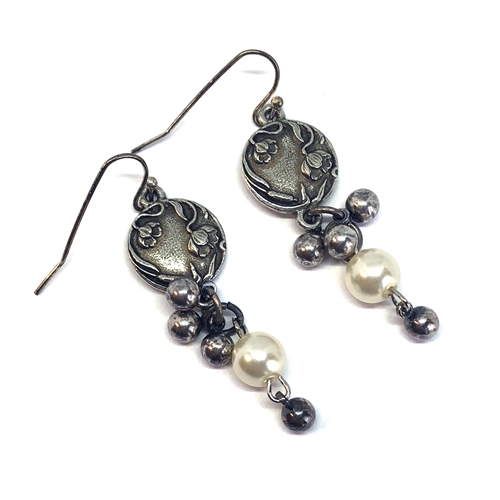 Old silver earrings, 1928 Jewelry Parts, handmade, by B'sue, earrings, silver earrings, pearl earrings, dangle earrings, pearls, finished earrings, vintage jewelry parts, 1928 earrings, pewter, pewter earrings, floral