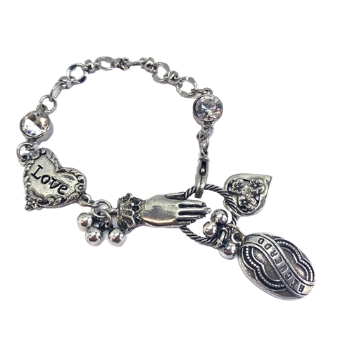 Lace Cuffed Hand and Charm bracelet, old silver, 1928 Jewelry Parts, Spanish Recuerdo memory, heart charm, rhinestones, bead and link chain, silverware silver plate chain, 07282,  charm bracelet, bracelet