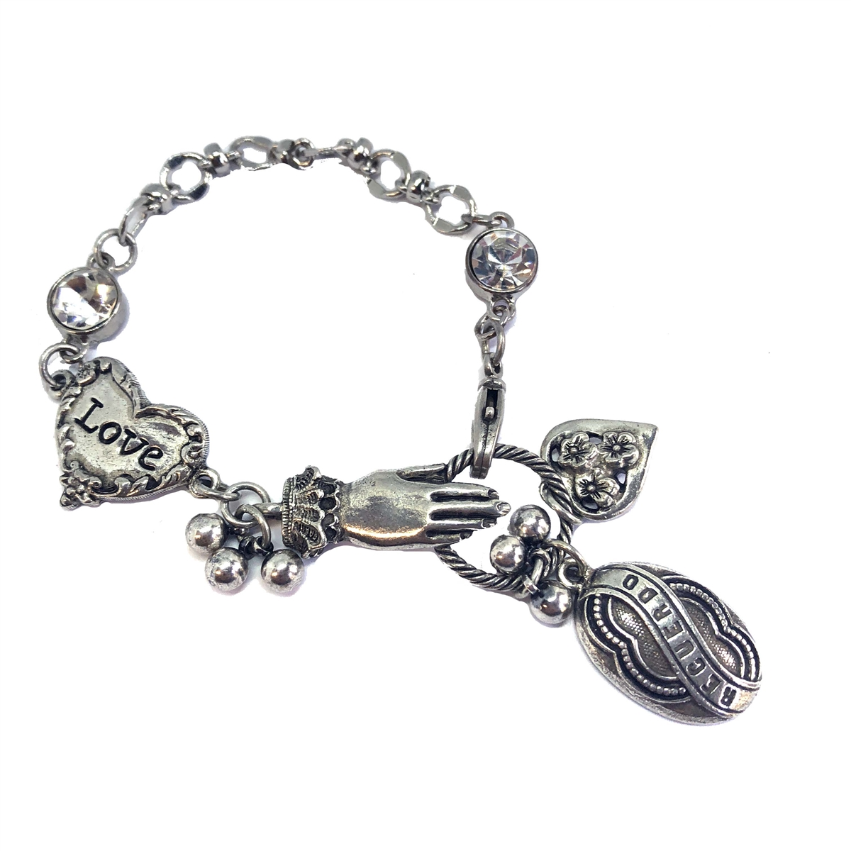 Lace Cuffed Hand And Charm Bracelet Old Silver 1928 Jewelry Parts Spanish Recuerdo Memory Heart