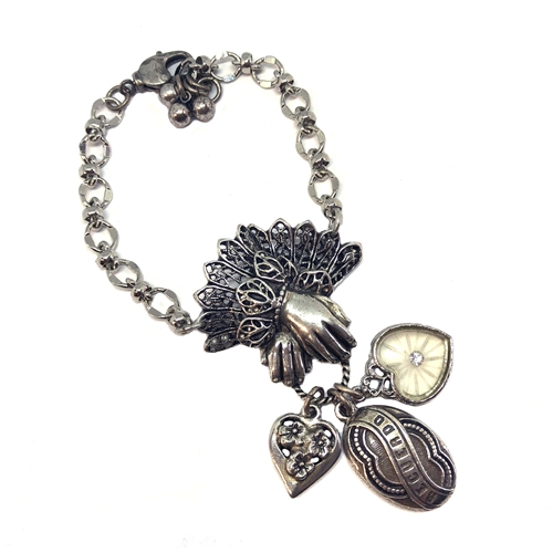 Lace Cuffed Hand and Charm bracelet, old silver, 1928 Jewelry Parts, Spanish Recuerdo memory, heart charm, bead and link chain, silverware silver plate chain, 07283,  charm bracelet, bracelet