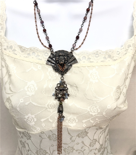 Bsue Necklace, Geisha necklace, bead and link necklace, rusted iron finish, antique copper, US made parts, nickle free jewelry parts, bsue boutiques, sapphire beads, ruby beads, gunmetal chain, rose copper chain, amethyst beads, 07584