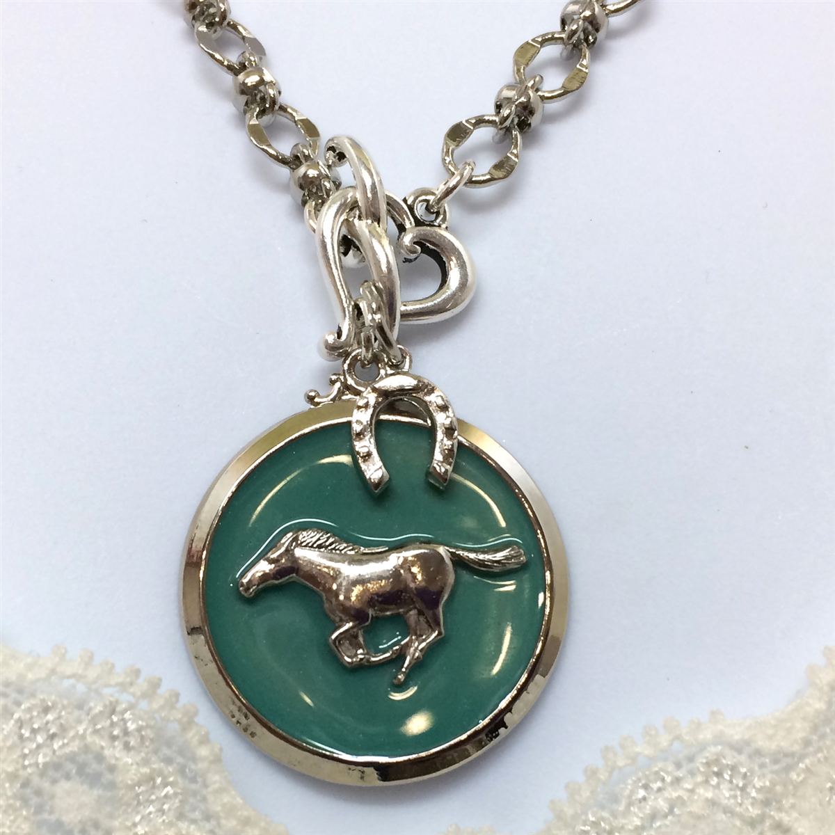 Horse pendant horse jewelry horse medallion silver green green silver horse necklace mozeypictures Gallery