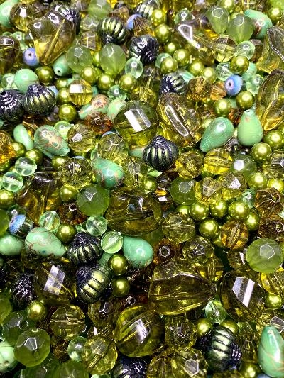 BD02410, olivene, green-gold, bead mix, acrylic beads, designer beads, lantern beads, fancy beads, green-gold bicone beads, limited edition, B'sue Boutiques, bicones, faceted mixed beads, mixed acrylic beads, pear shaped beads, pear drop beads