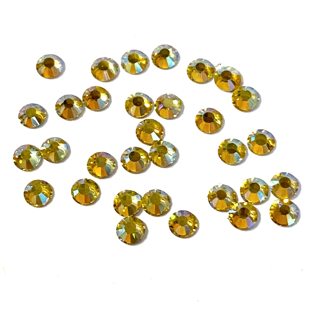 3mm preciosa citrine yellow flatback rhinestones, citrine, rhinestone, stone, preciosa, Czech, flatback, 3mm, 32 pieces, silver folded back, sparkle,  jewelry findings, B'sue Boutiques, jewelry supplies, yellow rhinestones, 02048