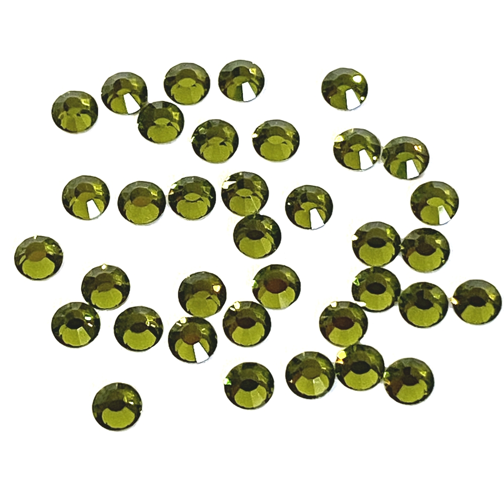 3mm preciosa olivine flatback rhinestones, green, rhinestone, stone, preciosa, Czech, flatback, 3mm, 32 pieces, silver folded back, sparkle,  jewelry findings, B'sue Boutiques, jewelry supplies, green rhinestones, 02051